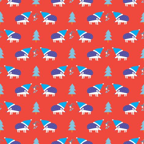 Holiday Hedgehogs red ©Solvejg Makaretz fabric by solvejg on Spoonflower - custom fabric