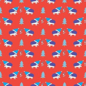 Holiday Hedgehogs red ©Solvejg Makaretz