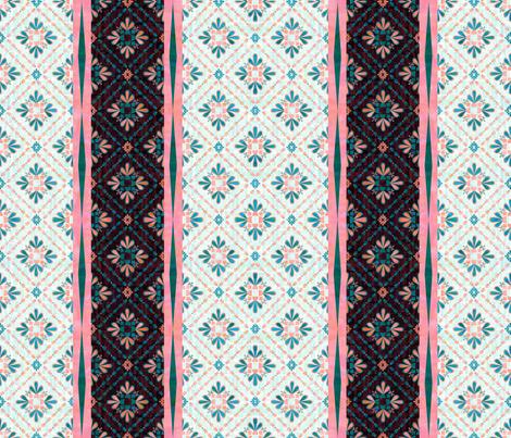Boho Tile Mint Peach Cheater Quilt  fabric by schatzibrown on Spoonflower - custom fabric