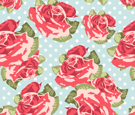 Red Roses fabric by puggy_bubbles on Spoonflower - custom fabric