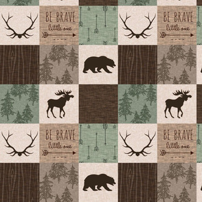 "4.5"" be brave quilt - green and brown"