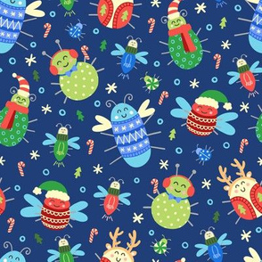 Jolly Christmas Insects on Blue