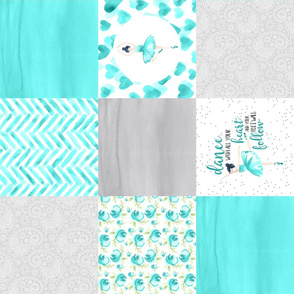 Ballerina//Teal - Wholecloth Cheater Quilt