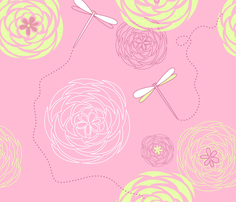 Pink Lemonade Roses fabric by puggy_bubbles on Spoonflower - custom fabric