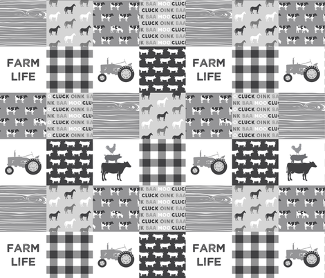 Farm life - patchwork wholecloth - farm themed - grey C18BS fabric by littlearrowdesign on Spoonflower - custom fabric