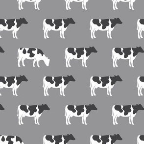 cows on grey - farm fabric C18BS