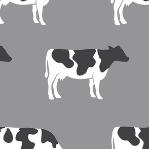 (large scale) cows on grey - farm fabric C18BS