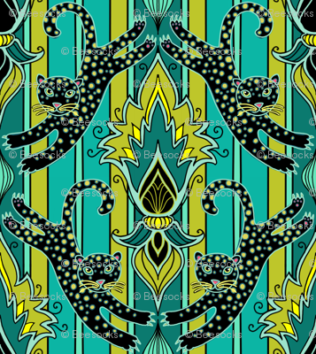 Leaping Leopards damask