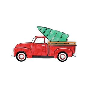 """15"""" PANEL - christmas car with tree - Christmas Pillow Panel C18BS"""