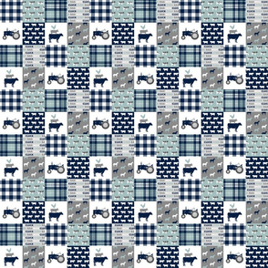 "(1.5"" small scale) farm life - tractor wholecloth patchwork - navy and dusty blue C18BS"