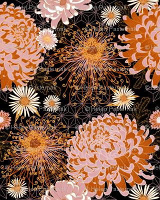 Japanese Chrysanthemums (black) V2 mini