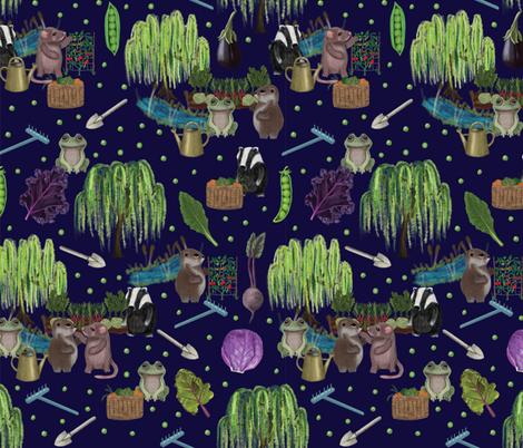 Veggies in the Willows fabric by jofryerdesigns on Spoonflower - custom fabric