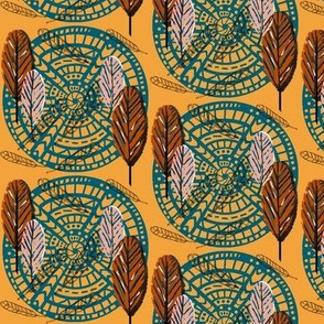 Boho Wild Feathers  / Lagoon -Terracotta  -blush