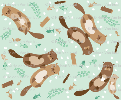 lovely otters - small
