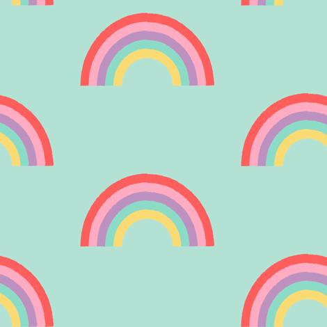 Rainbow - Mint fabric by kimsa on Spoonflower - custom fabric