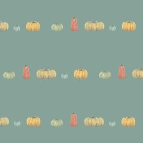 pumpkins in a row on winter sky blue