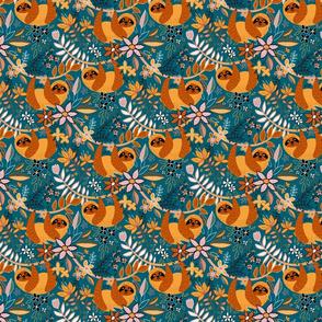 Cute Boho Sloth Floral - small print