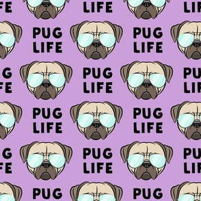Pug Life - cute pug face - purple w/glasses