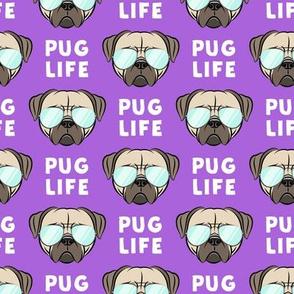 Pug Life - cute pug face - purple w/ glasses