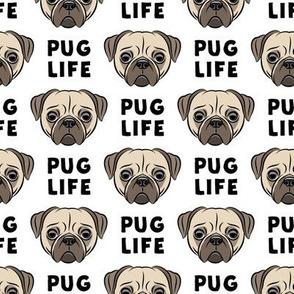 Pug Life - cute pug face - b & w