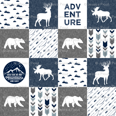 "(3"" small scale) love you to the mountains and back - navy and grey - adventure patchwork C18BS"