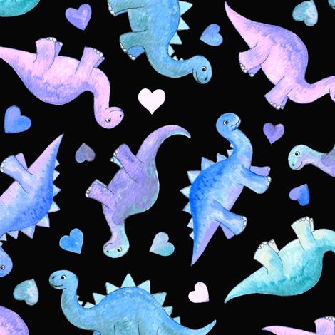 Blue, Teal & Purple Hand Painted Gouache Dinos & Hearts on Black - medium fabric by micklyn on Spoonflower - custom fabric