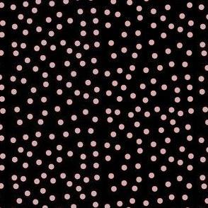 Twinkling Blush Dots on Deep Black - Medium Scale