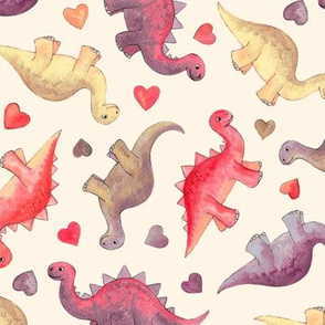 Cute Dinosaurs & Hearts in Vintage Berry Shades on cream - medium
