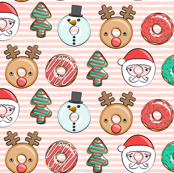 "(1.5"" scale) Christmas donuts - Santa, Christmas tree, reindeer - pink stripes C18BS"