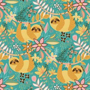 Pastel Boho Sloth Floral - large print