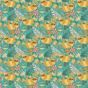 Pastel Boho Sloth Floral - small print