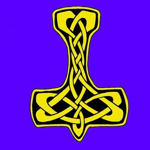 Celtic Thors Hammer 1  gold on blue