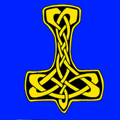 Celtic Thors Hammer 1  gold on blue