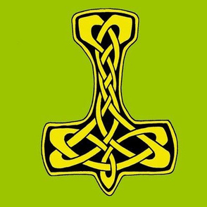 Celtic Thors Hammer 1 gold on green