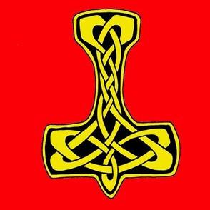 Celt Thors Hammer 1 gold on red