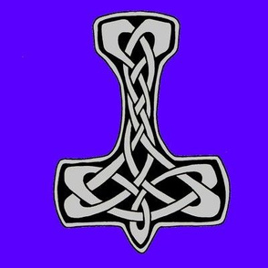Celtic Thors Hammer 1 silver on blue