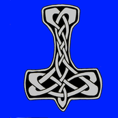 Celtic Thors Hammer 1 silver on blue