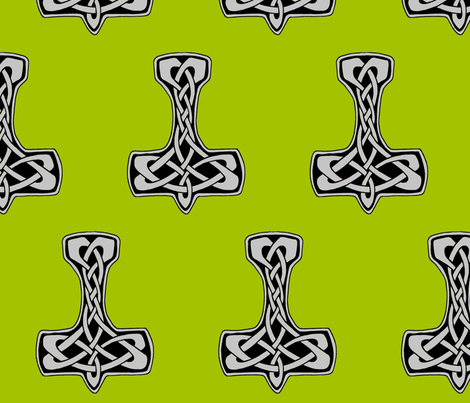 Celtic Thors Hammer 1 silver on green fabric by ingridthecrafty on Spoonflower - custom fabric