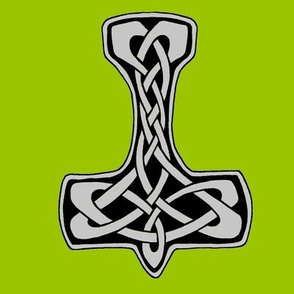 Celtic Thors Hammer 1 silver on green