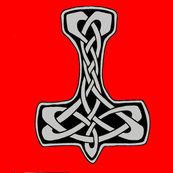 Celtic Thors Hammer 1 silver on red