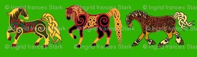Celtic Horse Trio on Green