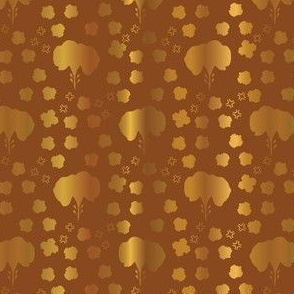 Metallic Copper Gold Floral Pattern Seamless Vector, Drawn Foil Shapes