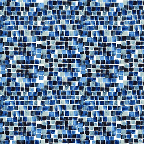 Indigo Blue Checkered Watercolor Pattern
