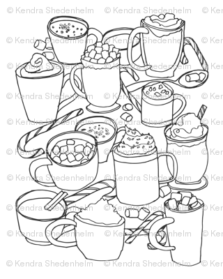 Hot Cocoas! (Coloring Activity for the Family)