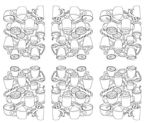 Hot Cocoas! (Coloring Activity for the Family) fabric by kendrashedenhelm on Spoonflower - custom fabric