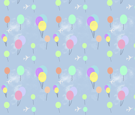 Balloons and Planes fabric by fade-into_nature on Spoonflower - custom fabric