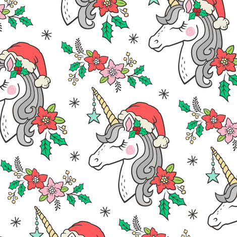 Christmas Unicorn on White Smaller fabric by caja_design on Spoonflower - custom fabric