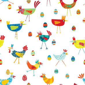 Colorful Funky Chickens