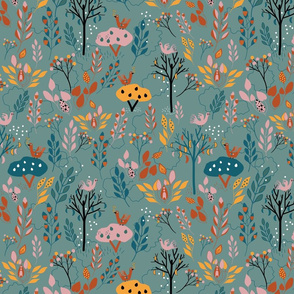 Green floral folk pattern