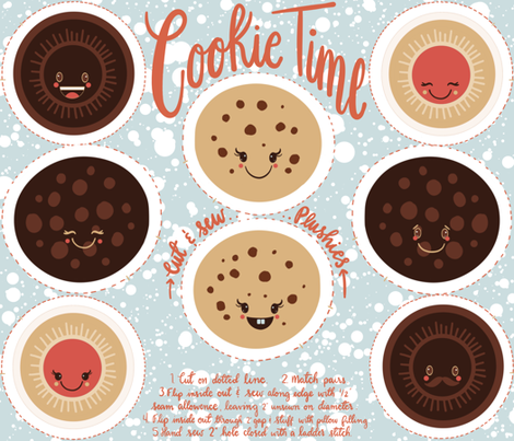 Cookie time - cut and sew plushies fabric by new_branch_studio on Spoonflower - custom fabric